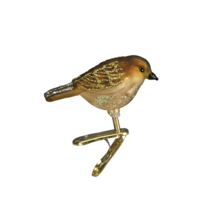 Old World Christmas Mini Songbird Brown Sparrow CLIP-ON Glass Ornament 18042 - $8.88
