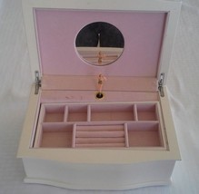 REED & BARTON Musical Ballerina White Wood Jewelry Chest Box with Mirror - $69.00