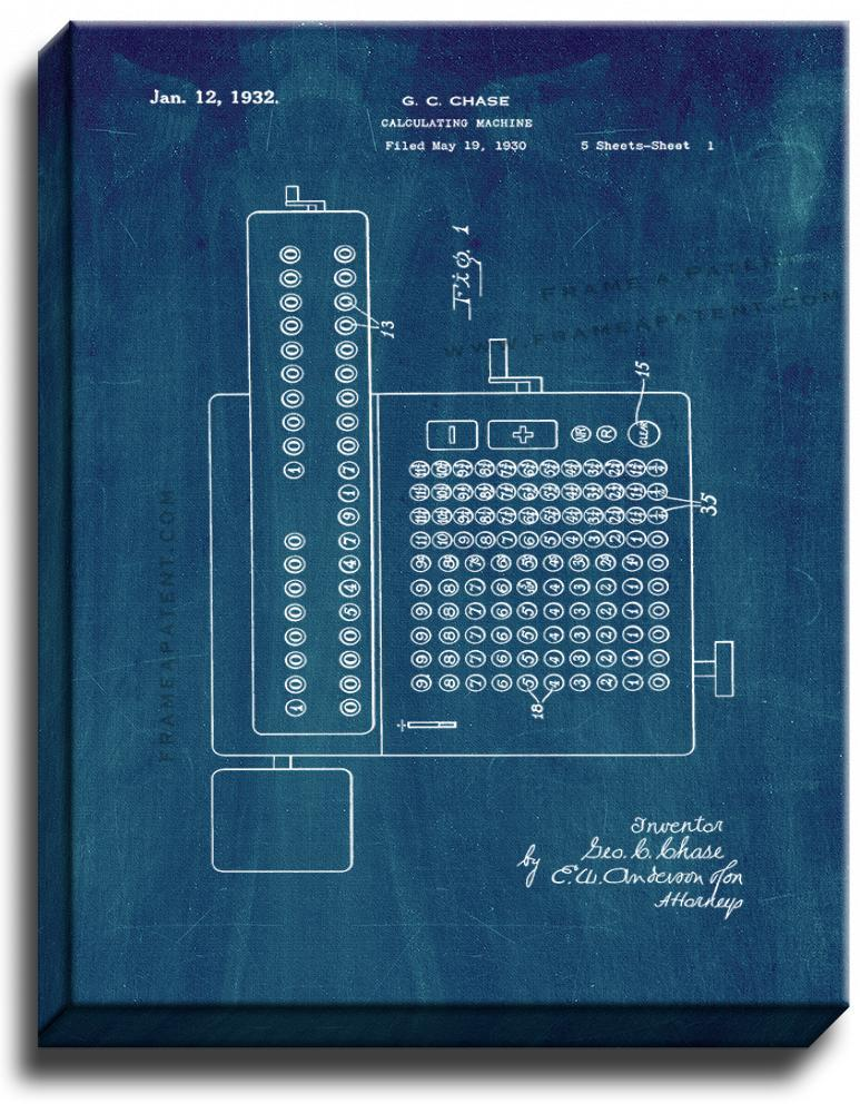 Primary image for Calculating Machine Patent Print Midnight Blue on Canvas