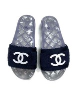Chanel Terry Cloth CC Pool Slides Sandals Slip On Open Toe Size 36 Navy ... - $643.99