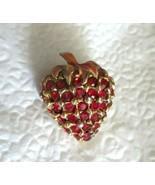 "Vintage Strawberry Red Rhinestone Enamel Gold tone Brooch Pin 1.25""  Uns... - $19.79"