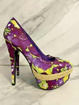 Qupid Women's Purple & Green Floral Almond Toe Stiletto Platform Pump Shoes 6.5 - $44.55