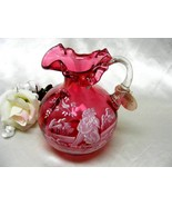 1426 Vintage Fenton Mary Gregory Cranberry Pitcher - $125.00