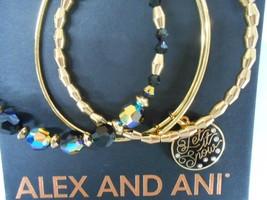 Alex and Ani Let it Snow Set of 3 Bangle Bracelets Shiny Gold Tag Box Card - $89.09