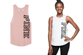 Victoria's Secret Pink Raw Sleeve Muscle Tank top beach black summer NWT... - $25.99