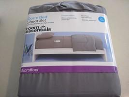 Room Essentials Microfiber Extra Long Twin Sheet Set Light Grey Dorm Roo... - $14.80