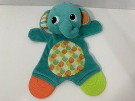 Bright Starts teal green elephant Teether crinkle toy flat plush securit... - $4.94
