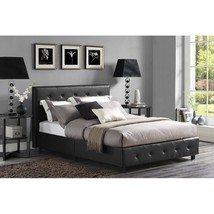Twin Full Queen King Black Upholstered Platform Bed Frame Faux Leather F... - $243.44+