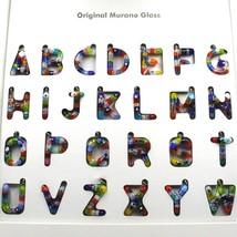 "LETTER F PENDANT MURANO GLASS MULTI COLOR MURRINE 2.5cm 1"" INITIAL MADE IN ITALY image 2"