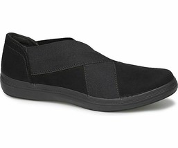 Grasshoppers Women's EF58338 Haven Microsuede slip-on sneaker Black Size 6 W - $34.60