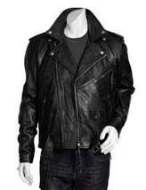 New Men Leather Jacket Black New Slim Fit Biker Genuine Lambskin Jacket... - $147.97