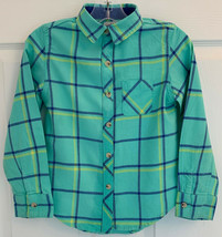 Cat & Jack Sz 6-6X Boys Classic Flannel Aqua Blue Plaid Button Down Shir... - $4.94