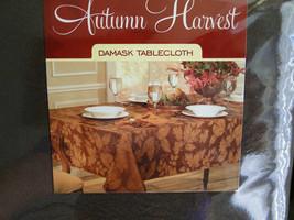 "Autumn Harvest Damask New Brown Leaf Tablecloth 60"" X 104"" image 2"