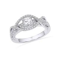 14k White Gold Round Diamond Woven Bridal Wedding Engagment Anniversary Ring - $764.92