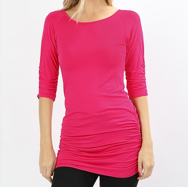 Pink Shirred Tunic Top, Hot Pink Ruched Half Sleeve Top, Long Womens Ruched Top