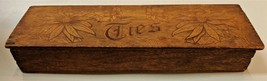 Vintage Pyrography Wood Burned Etched Wooden Tie Box - Double Sided Lid  - $18.95