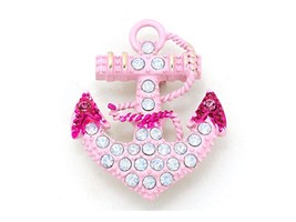 Pink Enamel Opal Crystal Anchor Pin Brooch - $13.95