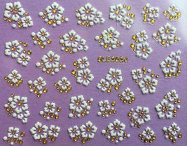 Nail Art 3D Decal Stickers White Flowers Gold Accents BLE262J - $3.29
