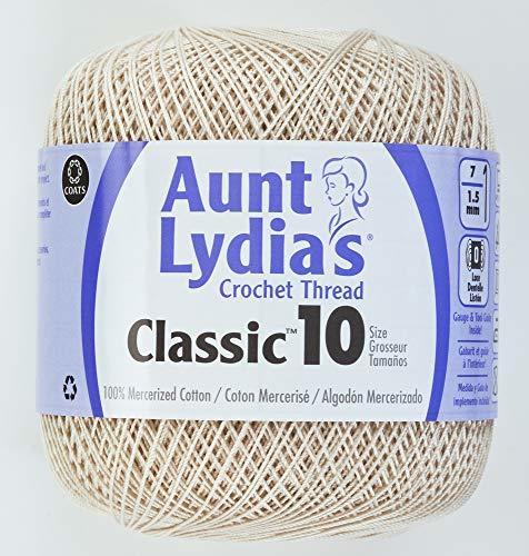Coats Crochet 154-226 Aunt Lydia's Crochet, Cotton Classic Size 10, Natural - $6.09
