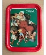 "Vintage 1991 Coca Cola ""Santa With Elves"" Tin Serving Tray - 13.75"" x 10... - $7.92"