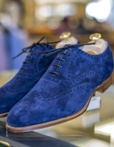 Handmade Men's Blue Suede Wing Tip Brogue Style Suede Oxford Shoes image 4
