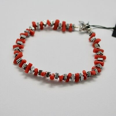 Silver 925 Bracelet with Coral & Hematite Bpi90-2 Made in Italy by Maschia
