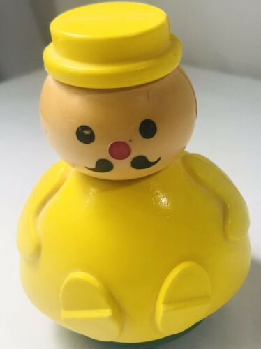 Vintage 1974 Fisher Price Weebles Men in a Tub Little People Toy Yellow Hat