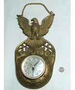 "Vintage RARE G.LION 12"" Brass Bald Eagle Quarts Battery Op Clock Taiwan - $49.48"