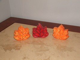NEW SET OF 3 FALL AUTUMN HALLOWEEN THANKSGIVNG FLOATING LEAVES CANDLES - $2.96