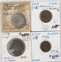 4 Egyptian coins Egypt 1913 5 Qirsh 1852 10 Para 1893 1/4 Qirsh 1842 5 Para - $99.00