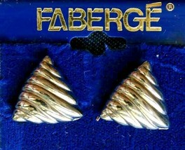 Faberge' Vintage Silver-tone Triangle Pierced Earrings on the original c... - $12.30