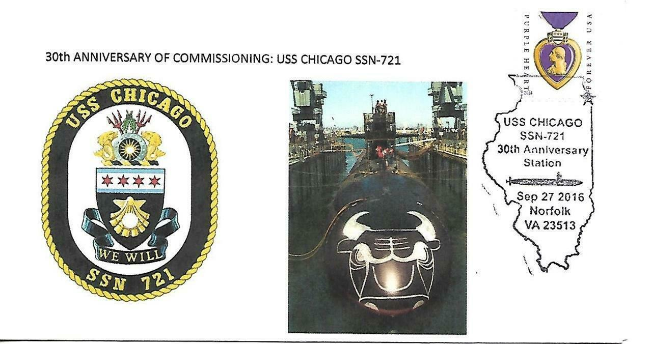CHICAGO (SSN-721) 27 Sep 2016 USPS Pictorial Cancel Norfolk VA Dr.L's Cachet #30