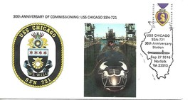 CHICAGO (SSN-721) 27 Sep 2016 USPS Pictorial Cancel Norfolk VA Dr.L's Cachet #30 - $3.47