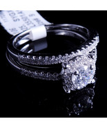 Ladies 14K White Gold Fn Lab Diamond Round Halo Enagement Ring Band Vale... - $74.99