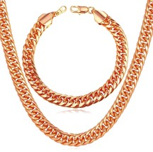 7ffaaa102 Men 18K Stamp Jewelry Set Rose Gold Plated 9MM Wide Thick Chunky Franco.