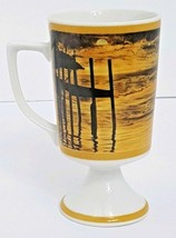 Japan Vintage Footed Irish Coffee Style Pedestal Cup Mug Sunset Pier Bea... - $18.49