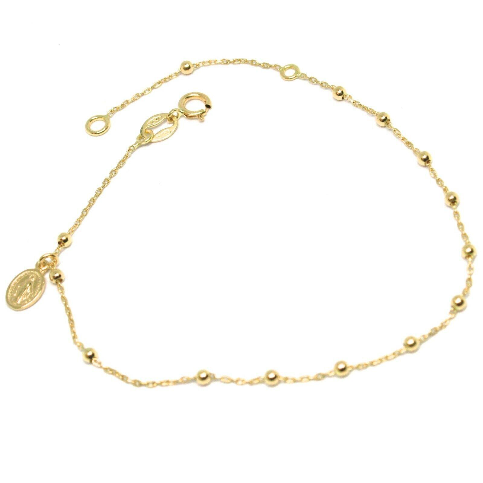 Mini Bracelet or Jaune ou Blanc 750 18K, Chapelet, Médaille Miraculeuse, 18 CM