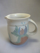 """Pitcher 4 3/4"""" Tall Stoneware Pottery Jan Lord Pink Blue Cream Hues 1987 - $9.95"""
