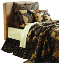 3-pc Bingham Star Luxury California King Quilt Set  -Black, Tan, Red- VHC Brands