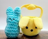 Peeps Blue Chevron Plush Bunny w/ Peeps Flipeez Plush Yellow Easter Basket