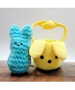 Peeps Blue Chevron Plush Bunny w/ Peeps Flipeez Plush Yellow Easter Basket - £15.94 GBP