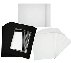 Hall of Frame Pack of 25 16x20 Black Picture Mats with White Core Bevel ... - $89.55