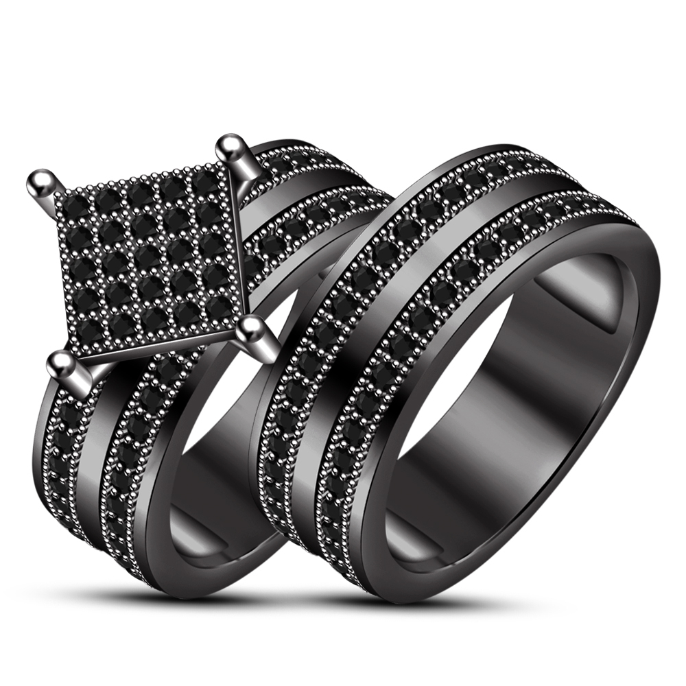 Trio Ring Set His And Hers Wedding Engagement 14k Black Gold Plated 925 Silver