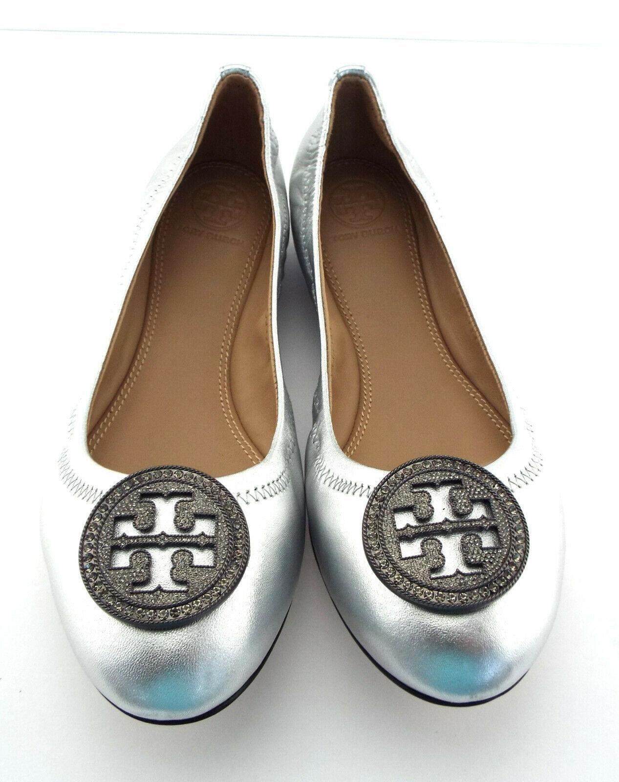 New TORY BURCH Size 7 LIANA Silver Metallic Ballet Flats Shoes