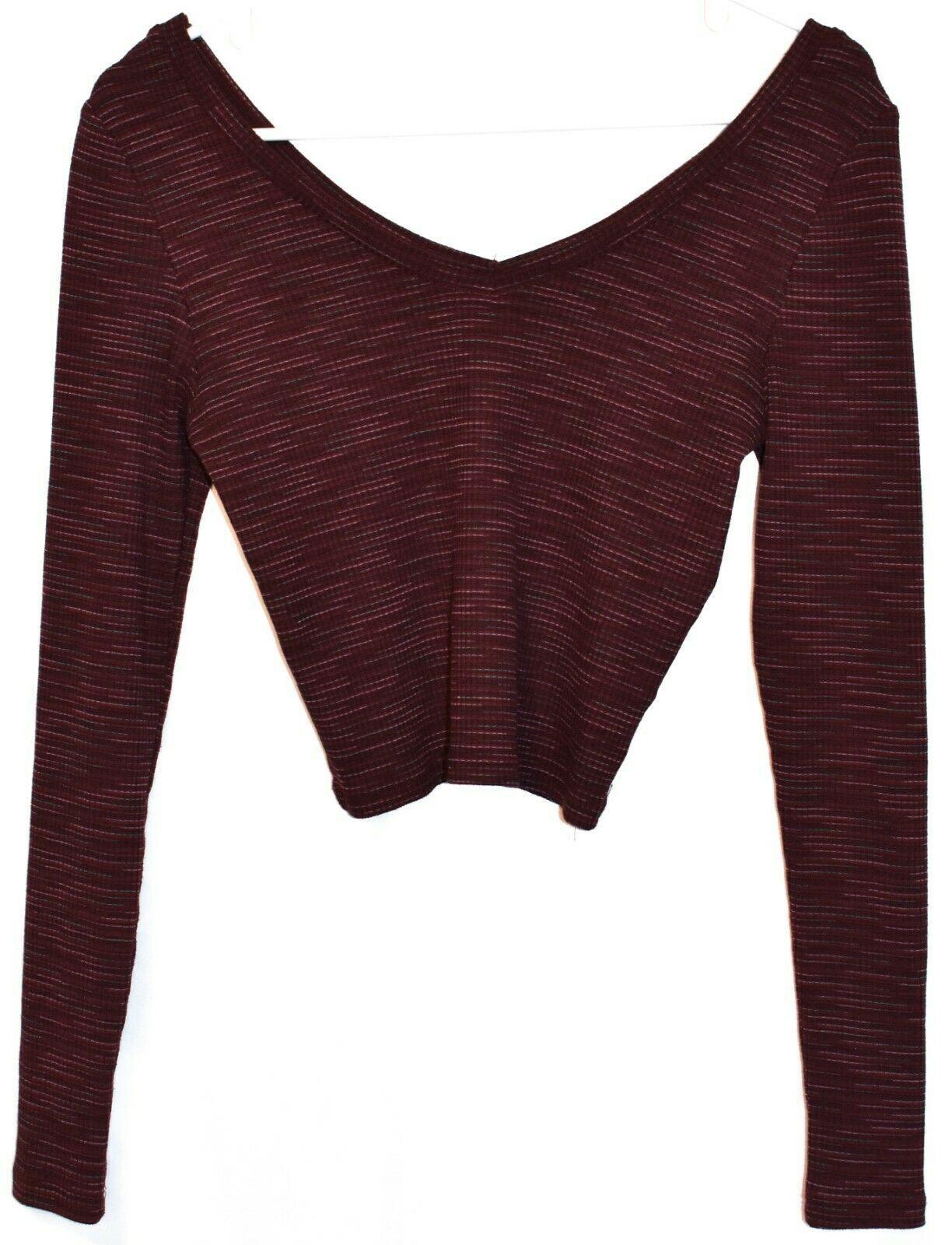 Topshop Women's Plum Purple Ribbed Crop V-Neck Sweater US 6   EUR 38   UK 10