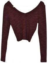 Topshop Women's Plum Purple Ribbed Crop V-Neck Sweater US 6 | EUR 38 | UK 10