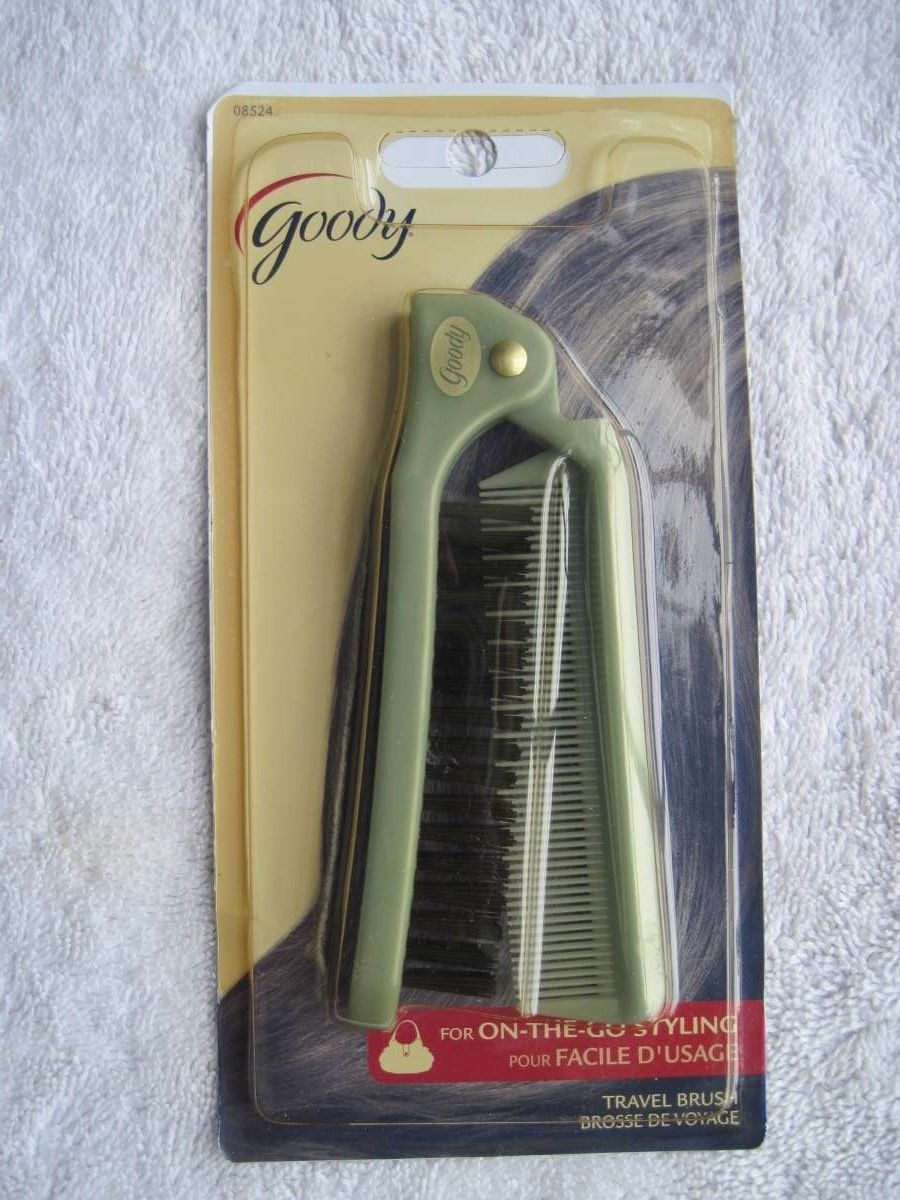 Goody Light Blue Folding Travel Size Pocket Purse Brush Hair Comb On Go Styling