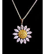 Brilliant CZ Flower necklace / marquise sunflower - sweetheart gift / Bi... - $95.00