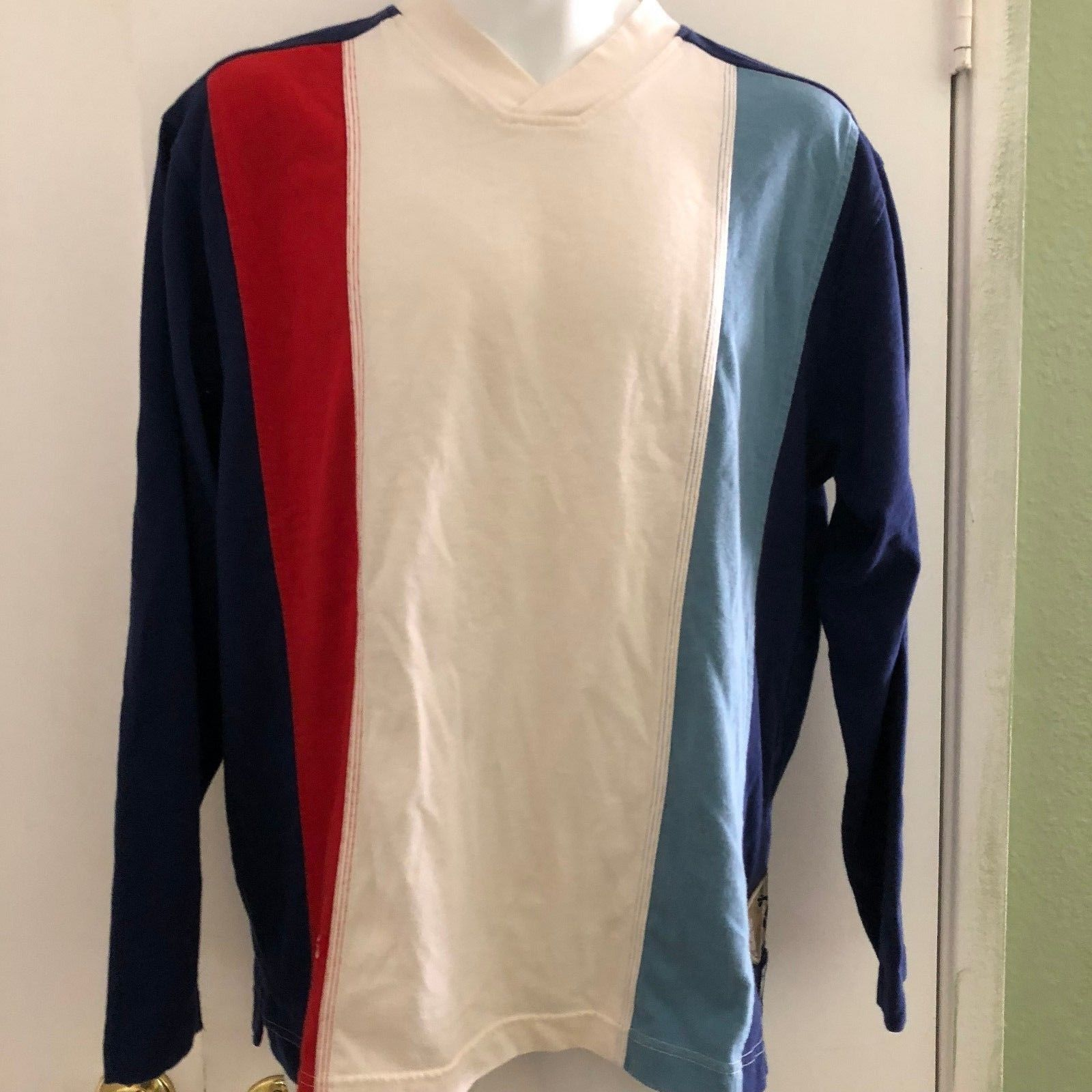 Adidas Small VTG USA Olympics LS V Neck Shirt RARE Striped Official outfitter