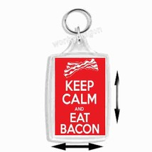 keep calm eat bacon  keyring  handmade in uk from uk made parts, keyring, keyfob